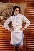 Женская вышитая блуза с поясом-резинкой, размер 54