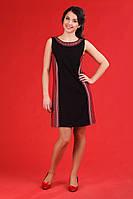 Черное женское платье в украинском стиле, размер 54