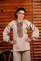 Женская вышиванка из льна, размер 48