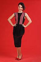 Черное женское платье в украинском стиле, размер 48