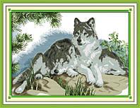 Пара волков  Набор для вышивания крестиком с печатью на ткани 14ст