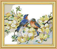 Поющие птицы  Набор для вышивания крестиком с печатью на ткани 14ст