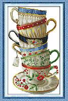 Чашки. Набор для вышивки крестом с печатью на ткани 14ст