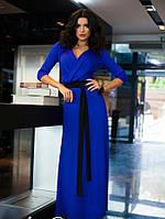 Синее женское платье в пол на запах