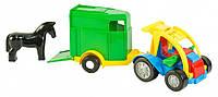 Игрушечная машинка авто-багги с прицепом и лошадкой Wader