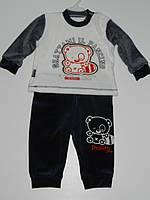 Детский костюм на мальчика велюровый реглан штаны рр. 62, 68, 74 Турция