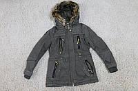 Демисезонная куртка- парка на меховой подкладке 134- 146 рост