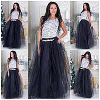 Шикарное платье в пол верх дорогой гипюр низ 4 слоя фатина