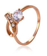 Кольцо позолота gold filled с цирконами Размер 17 (gf619