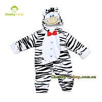Яркий комбинезон на махре для мальчика Zebra