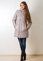 Стильная  женская куртка зимняя в бежевом цвете с шарфом Тина