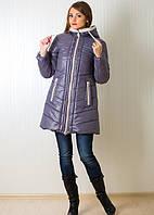 Стеганная зимняя куртка удлиненная с шарфиком на молнии