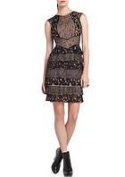 Оригинал. Полная распродажа. Гипюровое платье Karen Millen в бежево-черных тонах с воланами KM70237