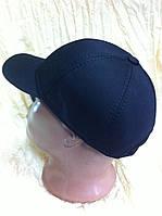 Бейсболка мужская утеплённая из плотной чёрной джинсы 56 59-60