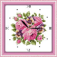 Часы. Аромат роз 2. Набор для вышивки крестом с печатью на ткани 14ст