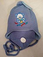 Вязаный комплект шапка шарф весенне - осенний девочка