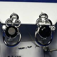 Ажурные серьги серебро с сапфиром крупного размера Е7