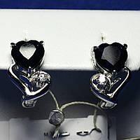 Ювелирные серебряные серьги с сапфиром в виде сердца Е11