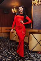 Вечернее длинное платье с гипюром Нинель
