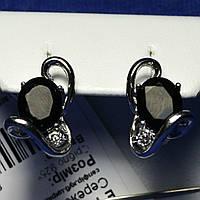 Родированные серьги серебро с сапфиром большого размера Е12