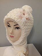 Комплект вязаный зимний девочка шапка шарф.
