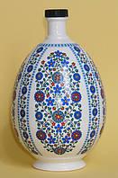 """Писанка """"Голубые цветы"""", графин для святой воды 0,75 л,  подарок на Пасху"""