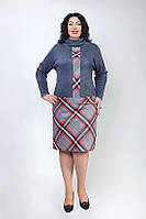 Женское платье под горло в модный принт клетка Размеры 56,58