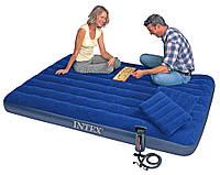 Надувной матрас кровать Интекс/Intex 203х152х22см: насос, 2 подушки в комплекте