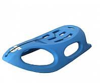 Пластиковые детские санки с железными полозьями: синий цвет