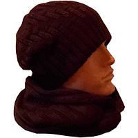 Вязаная мужская шапка-носок и шарф -снуд шоколадно- коричневого цвета