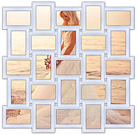 Мультирамка деревянная на 25 фото. Классика, белый.