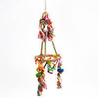Pet Pro Кольцо с подвесками и колокольчиком игрушка для крупных попугаев, хлопок 67*20 см