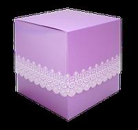 Упаковка для чашки картон с принтом (ажурная)фиолетовая