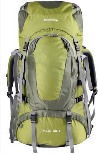 Треккинговый практичный рюкзак 60+5 л. KingCamp Peak (KB3248) Green зеленый
