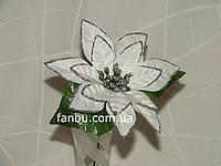 Новогодний декор пуансетия, цвет белый (d=13см)