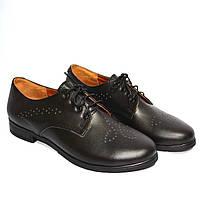 Туфли женские кожаные осенние на шнуровке, фото 1