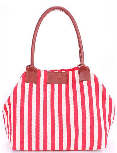 Повседневная коттоновая сумка в полоску POOLPARTY pool-navy-red красная