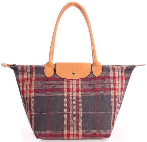 Женская клетчатая сумка POOLPARTY с клапаном pool-80-plaid серая