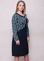 Оригинальное женское платье обманка в модный принт клетка, фото 1