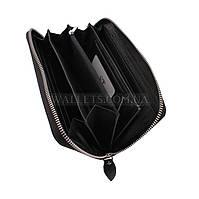 Кожаный кошелек-барсетка ST Leather Accessories на молнии, черный, матовый.