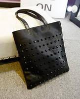 Стильная Модная женская сумка с шипами,черная, повседневная