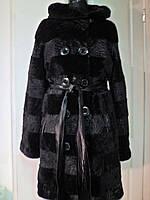 Шубка из каракульча с капюшоном поперечка длина 100см с кожаным поясом 46р 48р