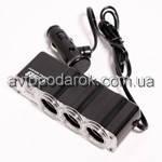 Автомобильный тройник для прикуривателя с USB, 12/24В, 3147