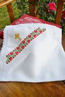 Льняная крыжма для крещения с украинским орнаментом №15