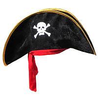 Шляпа пирата широкая с красной лентой для корпоратива, тематической вечеринки, утренника