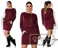 Платья с ассиметричной молнией и карманами батал