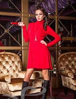 Теплое зимнее платье-гольф из ангоры Красный