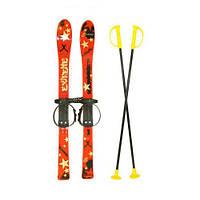 Лыжи с палками Marmat детские пласт., длина-90см красный