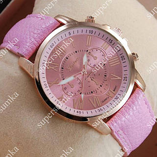 Яркие наручные часы Geneva Gold/Pink 1023