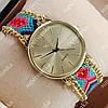 Неординарные наручные часы Geneva Quartz Blue/Gold 1025
